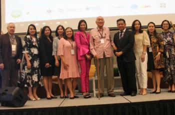 Incumbent and newly-elected Board Members pose for a photo with former PES Presidents at the closing of the 57th PES Annual Meeting and Conference.